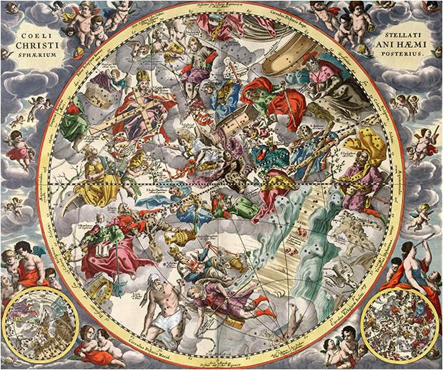 Constellations chrétiennes dans l'atlas d'Andréa Cellarius