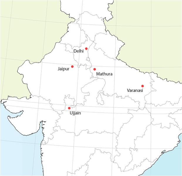 Carte des observatoires astronomiques de Jai Singh II.