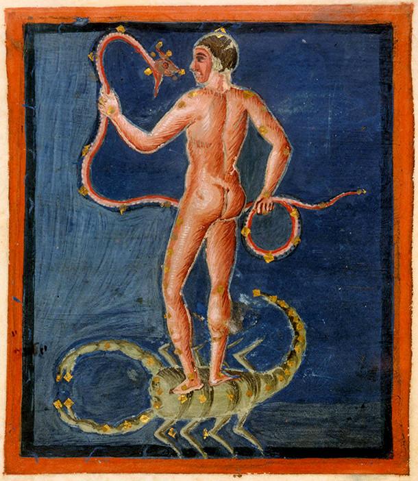 Constellation du Serpentaire et du Scorpion dans l'Aratea de Leyde (vers 825)