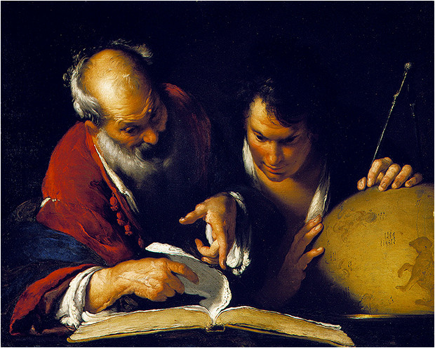 Ératosthène enseignant à Alexandrie (vers 1635) par Bernardo Strozzi