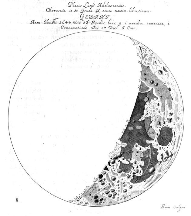 Dessin de la Lune par Hevelius