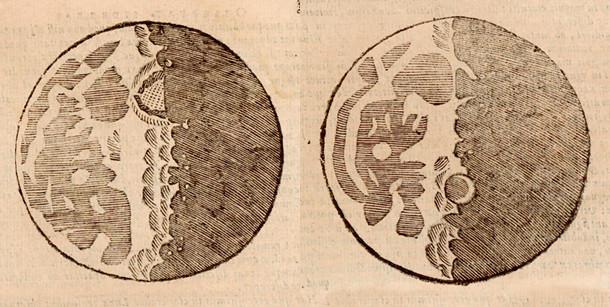 Dessins de la Lune par Galilée
