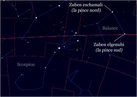 Carte des constellations de la Balance et du Scorpion