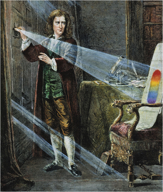Newton décompose la lumière à l'aide d'un prisme
