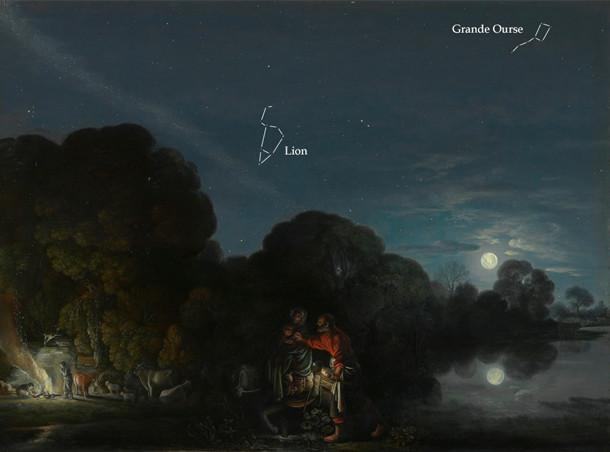 """Les constellations de la Grande Ourse et du Lion sur le tableau """"la fuite en Egypte"""" peint par Elsheimer."""