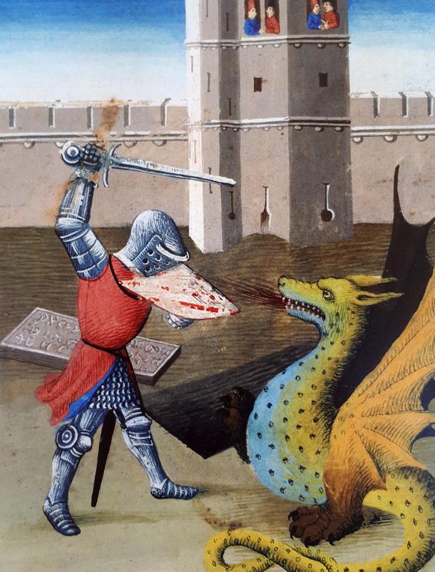 Selon le bestiaire du Moyen-Age, les dragons sont de couleur verte. Manuscrit du Tristan en prose (1463) BnF.