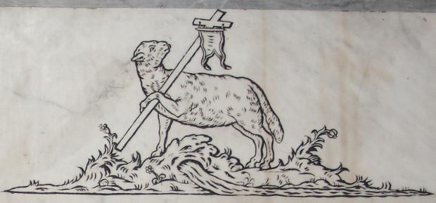 Représentation de l'agneau Pascal sur le gnomon de l'église Saint Sulpice à Paris.