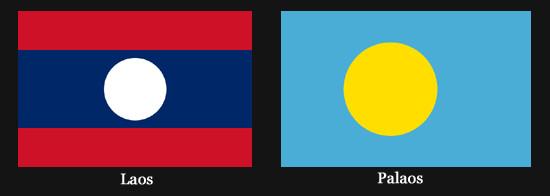 Drapeaux représentant une pleine lune (Laos et Palaos)