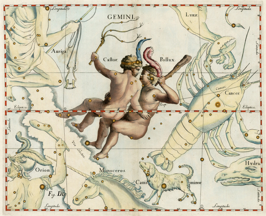 Constellation des Gémeaux dans l'atlas d'Hevelius (1690)