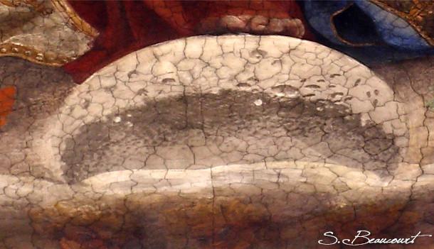 Detail de la Lune sur l'Immaculée Conception peinte par le Cigoli