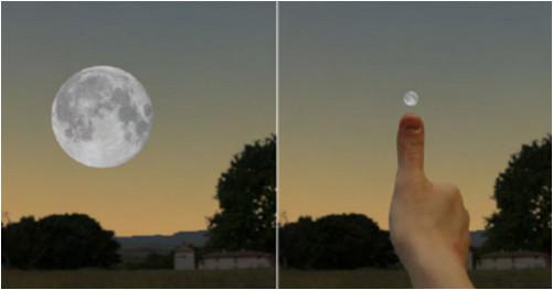Comment corriger la taille apparente de la Lune avec son pouce