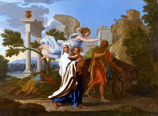 Le fuite en Egypte peint par Poussin.