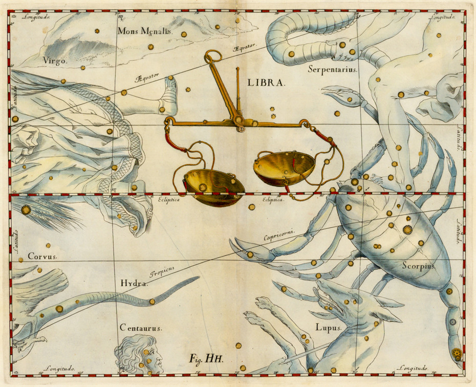 La constellation de la Balance dans l'Atlas d'Hevelius (1690)
