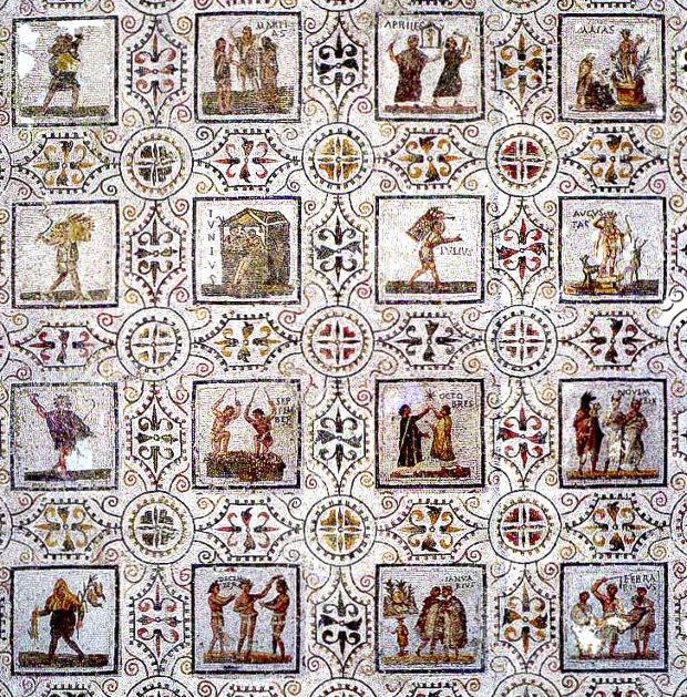 Mosaique du calendrier romain