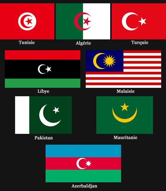 Drapeux avec un croissant de Lune (Tunisie, Algérie, Turquie, Libye, Malaisie, Pakistan, Mauritanie et Azerbaijan)
