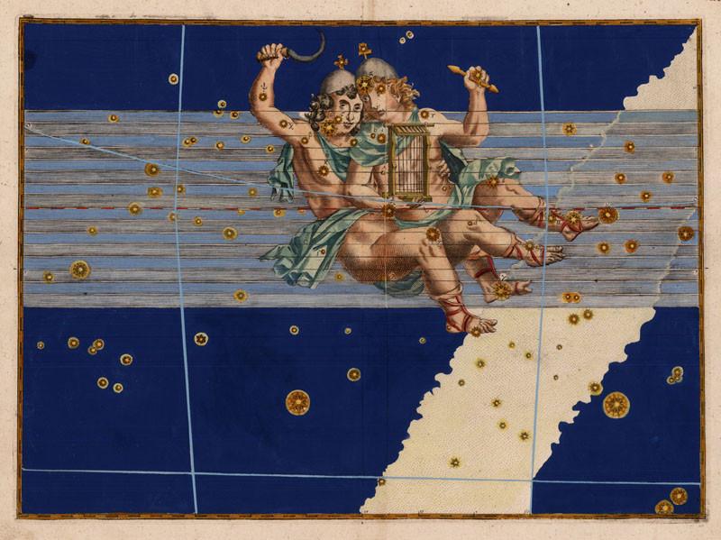 Constellation des Gémeaux dans l'atlas de Bayer (1603)