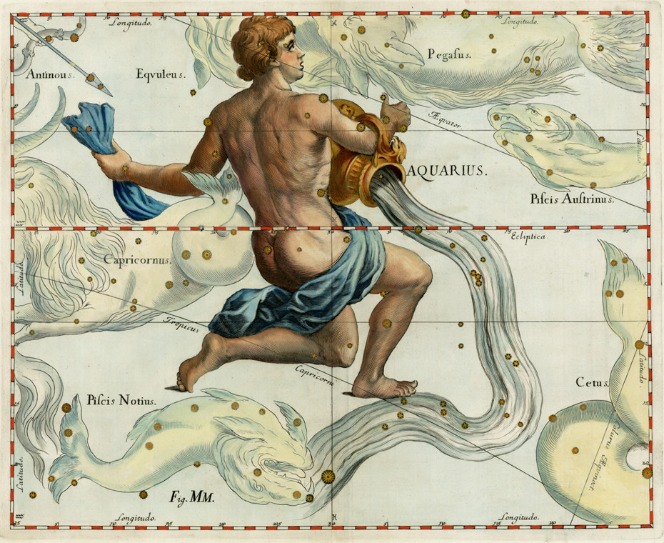 Constellation du Verseau dans l'atlas d'Hevelius (1690)