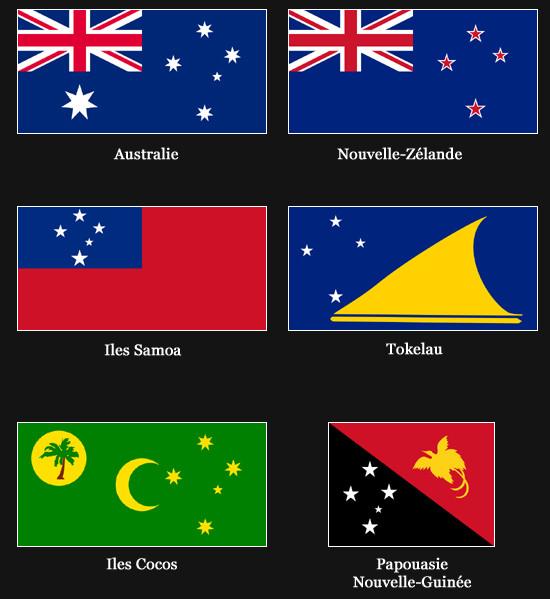 Drapeaux avec la Croix du Sud (Australie, Nouvelle-Zélande, Iles Samoa, Tokelau, Iles Cocos et Papouasie Nouvelle-Guinée)