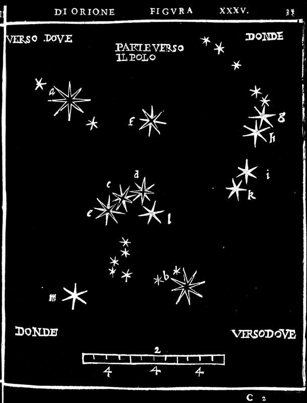 La constellation d'Orion dans l'atlas de Piccolomini