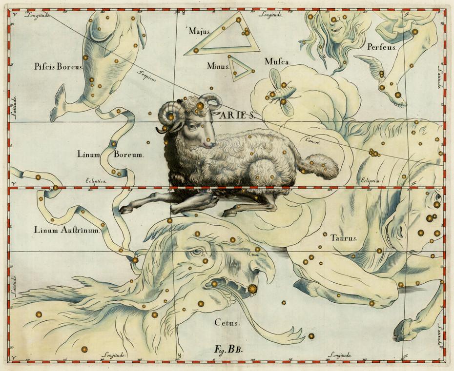 Constellation du Bélier dans l'atlas d'Hevelius (1690)