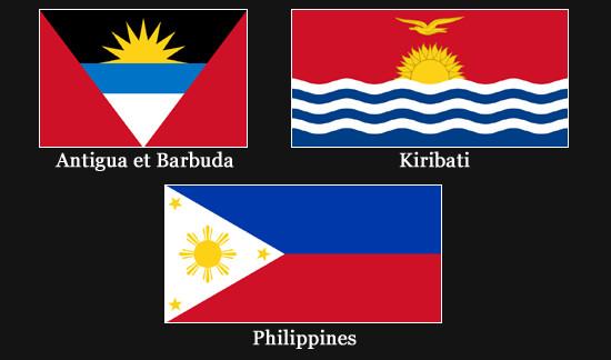 Drapeaux des Philippines, des Kiribati et d'Antigua et Barbuda