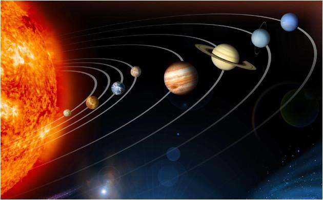 Alignement des planètes du système solaire (vue d'artiste).
