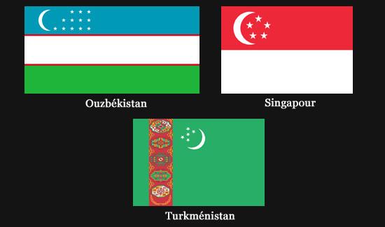 Drapeaux avec un croissant de Lune (Ouzbékistan, Turkménistan et Singapour)