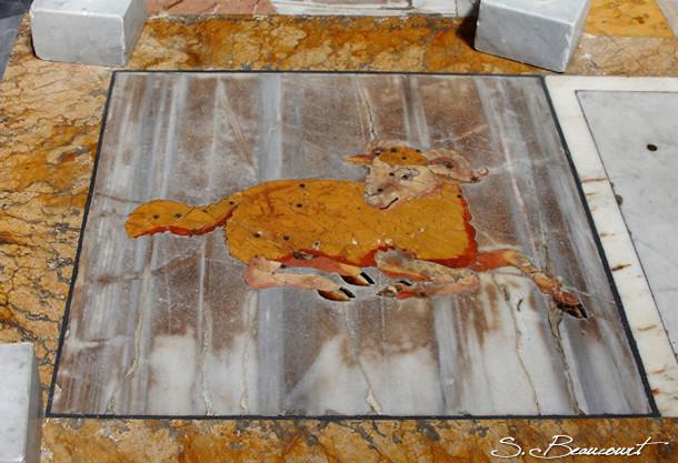 Signe du Bélier sur la méridienne de l'église Santa Maria degli angeli à Rome