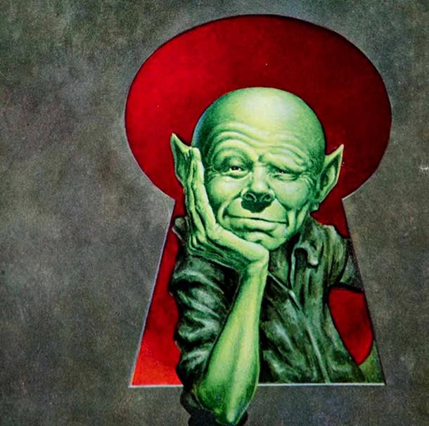 Un martien de couleur verte dans le livre Martian Go Home de Frederick Brown