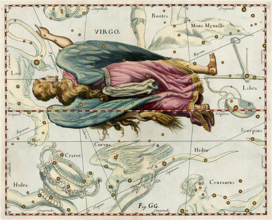 La constellation de la Vierge dans l'atlas d'Hevelius (1690)