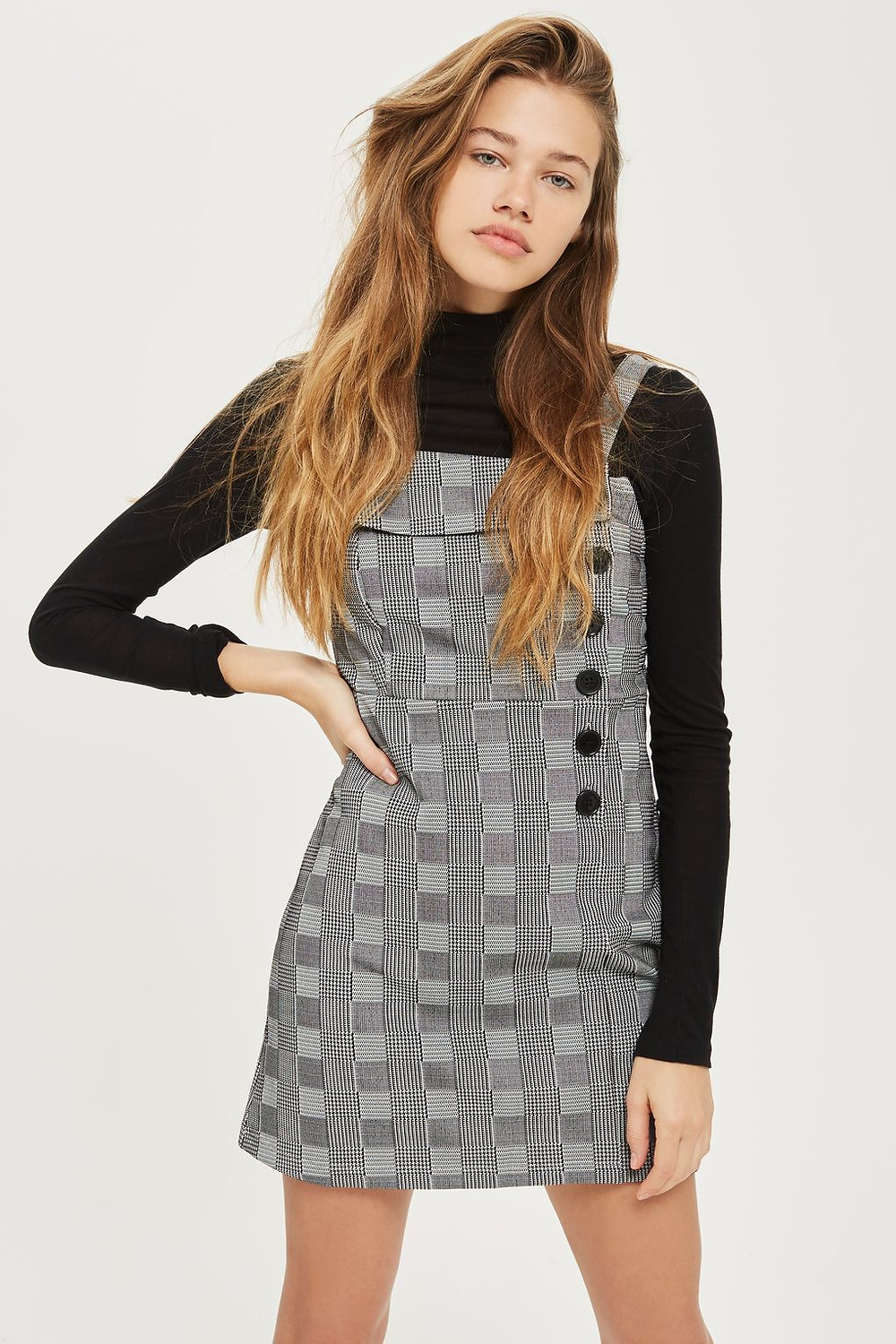 Button Checked Pinafore Dress