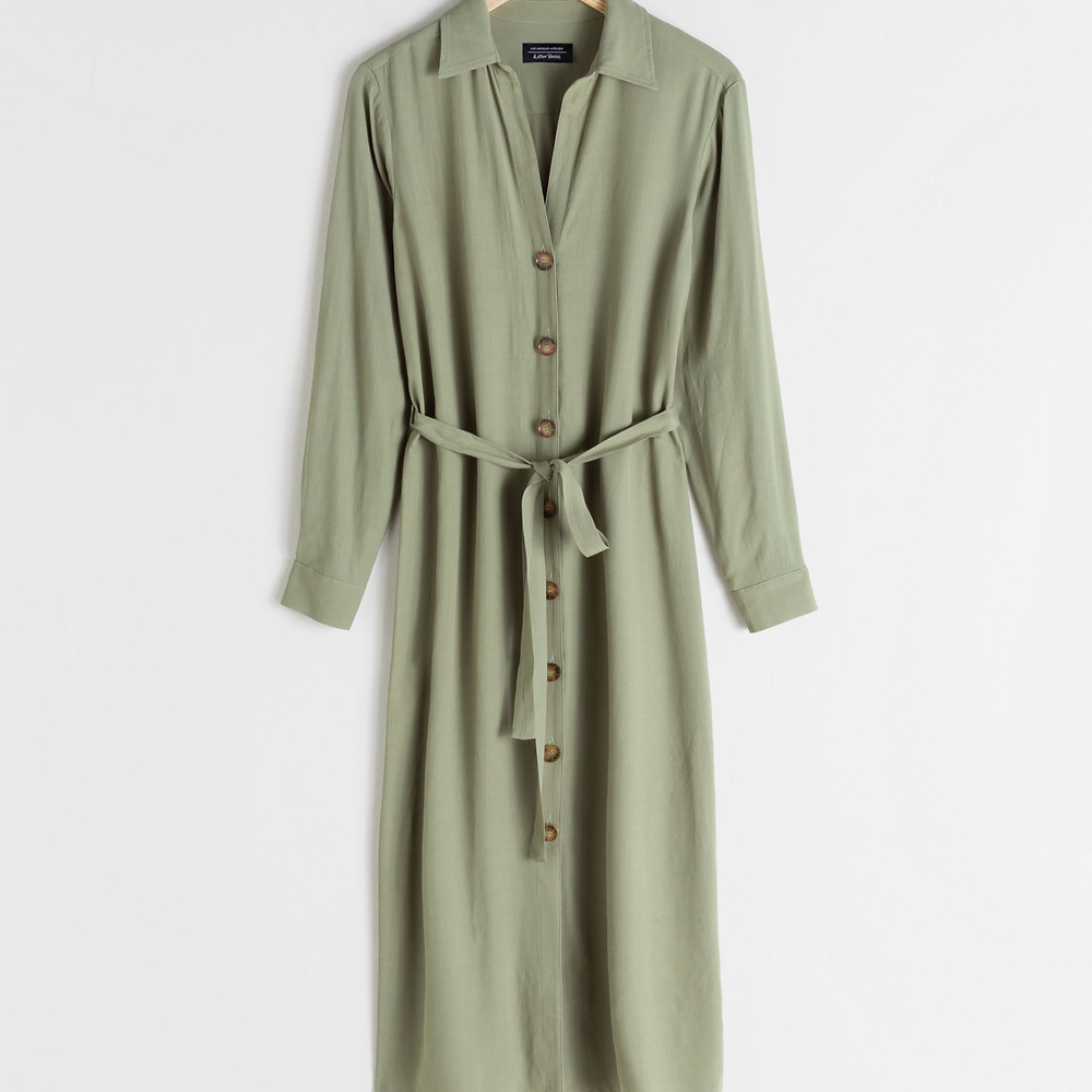 & Other Stories Belted Button Up Midi Dress