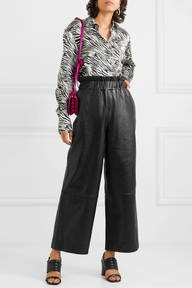 Ganni Leather Wide Leg Pants
