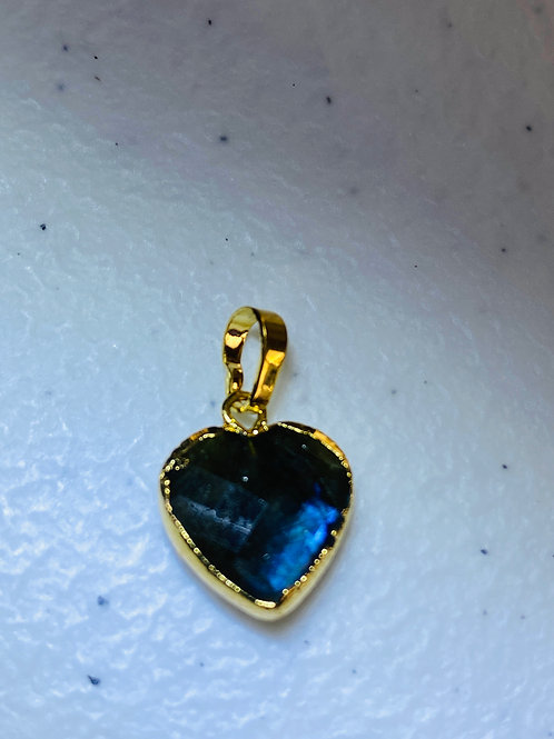 Mini Faceted Labradorite Heart Pendants