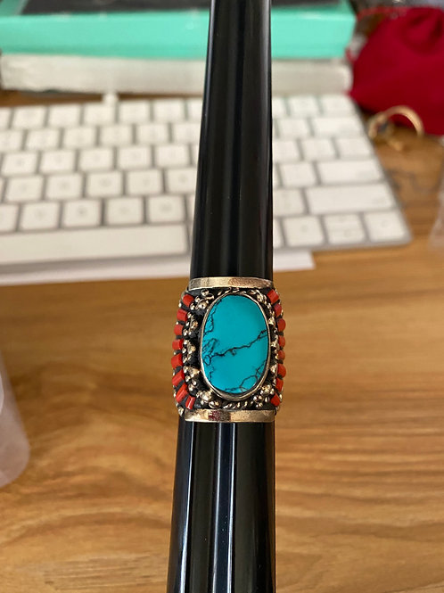 Tibetan Turquoise & Coral Ring (Size 8)