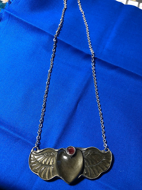 Golden Obsidian Angel Heart Pendant with Ruby