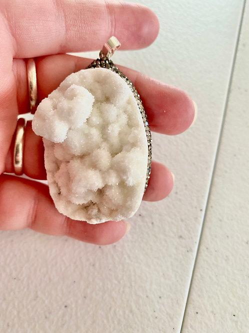 White Agate Druzy Pendant (B)