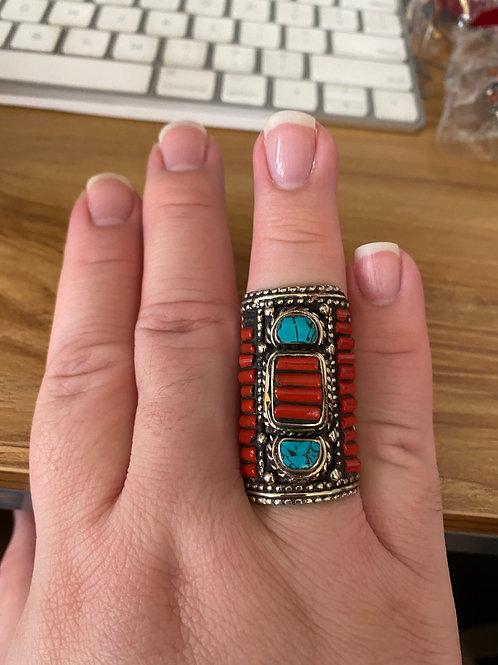 Tibetan Turquoise & Coral Ring (size 10)