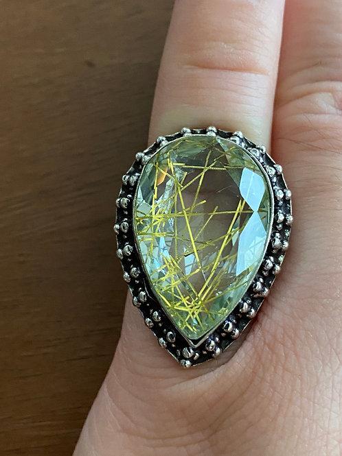 Golden Rutilated Quartz Ring (Size 6.5)