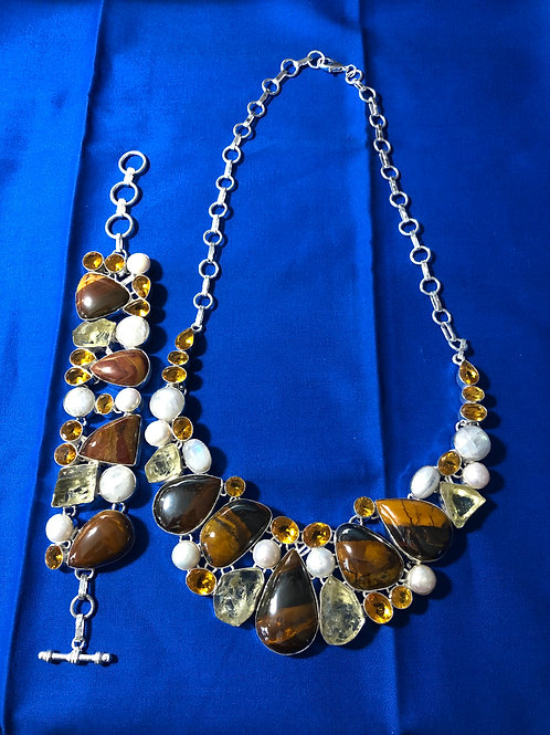 Mookaite Jasper, Lemon Quartz, & Pearl Necklace (Gift Set)
