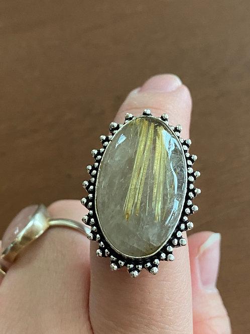 Golden Rutilated Quartz Ring (Size 8)