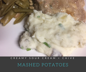 Sour Cream & Chive Mashed Potatoes are jam-packed with chive and garlic flavors.  This delicious, creamy mashed potato recipe is great for holiday meals!