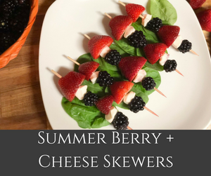 Simple and beautiful summer berries and cheese skewers are delicious and refreshing.  They are perfect for summer BBQs!