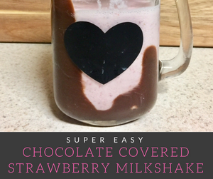 Chocolate Covered Strawberry Milkshakes feature delicious strawberries blended in strawberry ice cream served in a glass coated in rich chocolate.