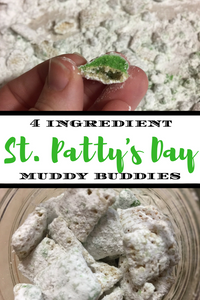 Celebrate St. Patty's Day with this quick, easy, and super delicious St. Patty's Day Muddy Buddies recipe!