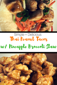 Tortilla shells make the perfect vessel for this delicious, Asian-Inspired Thai Peanut Taco with Pineapple Broccoli Slaw.  These scrumptious tacos require very little prep making them perfect for lunch or a weeknight meal!