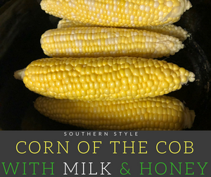 The southern style corn on the cob is cooked in a delicious bath of coconut milk and honey which helps bring out the natural sweetness of the veggie.  This dish is absolutely perfect for barbeques!