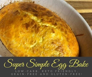 This is delicious easy egg bake is the perfect low-carb, keto friendly, and grain and gluten-free!  It requires very little prep and can be made in advance for a quick and simple breakfast for busy mornings.