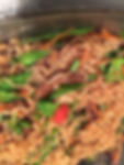 ramen with ginger beef, peppers and snap peas