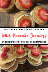 Do you need a simple breakfast or brunch idea?  How about one that requires very little cooking skills?  These super easy mini-pancake skewers require zero skill level yet look super elegant!